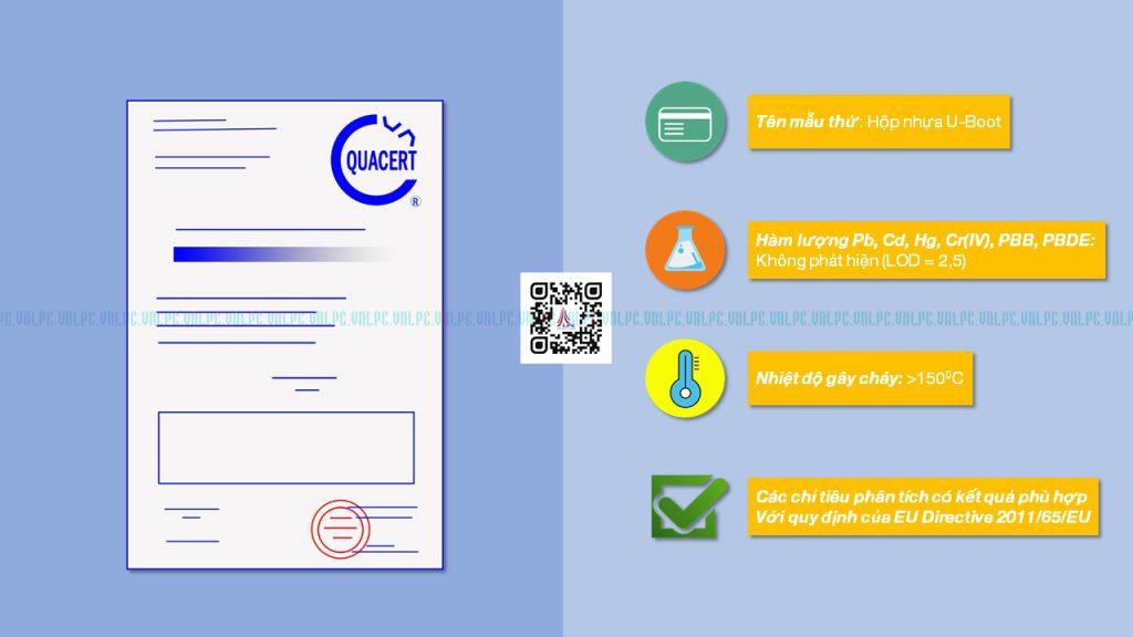 Tháng 8 năm 2015, hộp nhựa 'U-boot' đã nhận được kết quả thử nghiệm những tính chất của sản phẩm và đã công nhận đạt chuẩn với mức quy định của EU Directive.